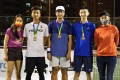 Vincent Chau, Etienne Lee and Martin Ng, winged by tournament director Venise Chan and ambassador Cindy Lee, are the winners from the inaugural Hong Kong Open Pickleball Championships. Photo: Kenneth Tjon