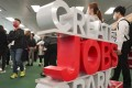 Young people attend a jobs fair on March 13 in Quarry Bay, Hong Kong. Photo: Felix Wong