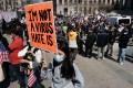 Protesters demand an end to anti-Asian violence during a Rally in New York on April 4. Photo: AFP