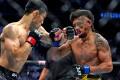 Danaa Batgerel lands a check left hook on Kevin Natividad at UFC 261. Photo: Jasen Vinlove/USA TODAY Sports