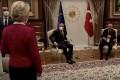 European Commission President Ursula von der Leyen stands as European Council President Charles Michel and Turkish President Tayyip Erdogan take seats in Ankara, Turkey on April 6. Photo: European Union via Reuters