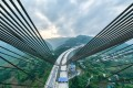 The construction site of the Dafaqu grand bridge on the Renhuai-Zunyi expressway in southwest China's Guizhou Province is seen on April 21. Photo: Xinhua