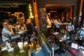 Police inspect arrangements at Lan Kwai Fong bars on Thursday. Photo: Felix Wong