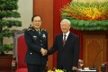 China's Defence Minister Wei Fenghe (left) meets Vietnam's Communist Party General Secretary Nguyen Phu Trong in Hanoi on Monday. Photo: Xinhua