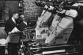 Copies of The Chicago Defender roll off the press in 1944. Photo: Getty Images