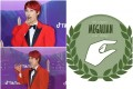 South Korean star Jaejae on the red carpet and the radical feminist logo meaning 'small penis'. Photo: Weibo