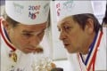 Jacques Maximin (right) speaks with Jean-Marc Delatour during the World Best Chefs competition in Thonon-Les-Bains, France in 2007. Photo: Getty Images