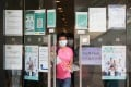 A woman comes out of the vaccine centre at Central Library in Causeway Bay. Photo: Xiaomei Chen