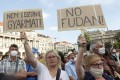 Thousands of protesters marched in Budapest on June 5 to oppose the planned satellite campus for China's Fudan University. Photo: AP