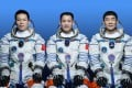 Chinese astronauts (from left) Tang Hongbo, Nie Haisheng, and Liu Boming  are the first crew for China's space station. Photo: Xinhua