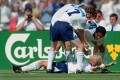 England goalscorer Paul Gascoigne celebrates in the 'Dentist's Chair' with Steve McManaman (left) Teddy Sheringham and Jamie Redknapp during the Euro 96 group stage win over Scotland at Wembley. Photo: Stu Forster/Allsport/Getty Images