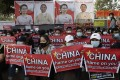 Demonstrators outside the Chinese embassy in Yangon, Myanmar, call for the release of detained civilian leader Aung San Suu Kyi and protest against China's silence over the February 1 military coup. Photo: EPA