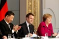 Chinese President Xi Jinping, French President Emmanuel Macron and German Chancellor Angela Merkel hold a news conference at the Elysee presidential palace in Paris on March 26, 2019. Photo: Reuters