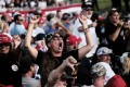 """A Trump supporter screams at members of the press during a """"Save America"""" rally by ex-president Donald Trump in Ohio on June 26. Photo: Bloomberg"""