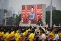 Chinese President Xi Jinping's speech is shown on a screen in Tiananmen Square in Beijing on July 1, the 100th anniversary of the founding of the Communist Party. Modernity with Chinese characteristics has something old, something new, and something borrowed. Photo: TNS