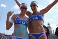 German beach volleyball players Katrin Holtwick (left) and Ilka Semmler. While the jury is out on the usefulness of sports tape on actual performance, experts say even the mental support it offers to athletes is helpful. Photo: Getty Images