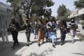 Taliban fighters patrol in the Wazir Akbar Khan neighbourhood in Kabul on August 18. Photo: AP