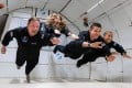 The Inspiration4 crew (from left) Chris Sembroski, Hayley Arceneaux, Jared Isaacman and Sian Proctor float in zero gravity during a plane ride in preparation for their trip to Earth's orbit. Photo: AFP