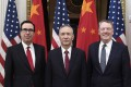 Chinese Vice-Premier Liu He is flanked by US Treasury Secretary Steven Mnuchin (left) and Trade Representative Robert Lighthizer at the White House in February. Photo: Xinhua