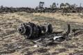 Debris of the crashed Ethiopian Airlines 737 some 60 kilometres southeast of Addis Ababa, Ethiopia. Photo: AFP