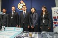 (L-R) Wong Sau-lok, senior inspector, Commercial Crime Bureau; Hui Hong-kit, chief inspector, Regional Crime Unit, Hong Kong Island; Chan Tin-chu, superintendent, Commercial Crime Bureau; Lee Hau-chi, assistant registry manager, Public Search Division, Companies Registry; and Wu Miu-yee, chief inspector, Commercial Crime Bureau. The security officials announced the arrest of 17 suspects as part of operation Boldfighter at a press conference at the Police Headquarters in Wan Chai on Friday. Photo: Winson Wong