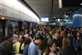 Passengers arriving on the Tsuen Wan line from Tsim Sha Tsui had to change trains at Admiralty after Monday morning's crash. Photo: Sam Tsang