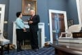 Anson Chan chats with US Vice-President Mike Pence in his office in the White House. Photo: Handout