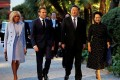 French President Emmanuel Macron and his wife, Brigitte, welcome Chinese President Xi Jinping and his wife, Peng Liyuan, as they arrive for a dinner at the Villa Kerylos in Beaulieu-sur-Mer, near Nice, France, on Sunday. Photo: EPA-EFE