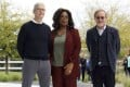 (From left) Apple CEO Tim Cook, talk show host Oprah Winfrey and film director Steven Spielberg at the Apple product launch event in Cupertino, California on March 25, which among other things announced the launch of its new video streaming service, Apple TV. Photo: Kyodo
