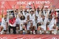 American players celebrate their victory at the Las Vegas Sevens in March. Photo: AFP