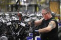 Harley-Davidson motorcycle engines are assembled at the company's plant in Menomonee Falls, Wisconsin, in June 2018. US manufacturing activity continues to expand. Photo: AFP