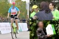 A woman rides a bicycle during the Xuzhou International Marathon; a woman argues with volunteers while a looter walks away with a box of goodies. Photos: Weibo