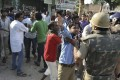 Residents argue with police in the wake of 2013's deadly Muzaffarnagar riots. Photo: AP