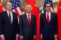 US trade representative Robert Lighthizer (left), China's Vice-Premier Liu He and US Treasury Secretary Steven Mnuchin at Diaoyutai State Guesthouse in Beijing on Friday. Photo: AFP
