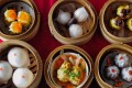 A display of dim sum dishes.
