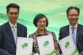 (L-R): Deputy Secretary for Food and Health Fong Ngai, Secretary for Food and Health Sophia Chan Siu-chee and Derek Lee, head of the Voluntary Health Insurance Scheme, on March 29. Photo: Nora Tam