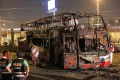 The remains of the bus that caught fire north of Lima on March 31, 2019. Photo: AFP