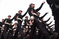 Indian Navy personnel march in New Delhi. Photo: AFP