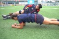 Hong Kong's Salom Yiu Kam-shing and Chong Ka-yan prepare for this weekend's Hong Kong Rugby Sevens tournament.