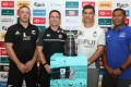 New Zealand coach Clark Laidlaw (left) and Fiji coach Gareth Baber (second right) are both confident of progressing from the 'group of death'. Photo: Xiaomei Chen