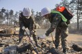 South Korean soldiers try to put out a fire still in smouldering debris after the area was hit by a forest fire in Goseong. Photo: AFP