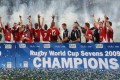 Wales celebrate their victory in the 2009 Rugby World Cup Sevens. Photo: AFP