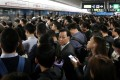 A packed Admiralty MTR station is packed during rush hour. Photo: Nora Tam
