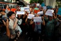 Thai activists protest against the Election Commission in Bangkok. Photo: Reuters