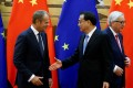 Chinese Premier Li Keqiang (centre) is to meet European Council President Donald Tusk (left) and European Commission President Jean-Claude Juncker (right) on Tuesday. Photo: Reuters