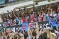 It was a familiar sight at Hong Kong Stadium on Sunday, with Fiji lifting the trophy after beating France in the Hong Kong Sevens final. Photo: Sam Tsang