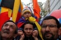 Supporters of Tibet protest outside the EU-China summit in Brussels, Belgium. Photo: Reuters