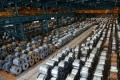Rolls of steel are stacked inside the China Steel Corporation factory, in Kaohsiung, southern Taiwan. Photo: Reuters
