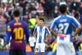 Espanyol's Chinese player Wu Lei, centre, during a Spanish La Liga game against FC Barcelona. Photo: AP
