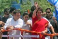 President of the opposition Congress party, Rahul Gandhi (left) with his sister and party member Priyanka Gandhi, during a road show on the way to filing his election nomination in Amethi, Uttar Pradesh, on April 10. Elections for India's 545-member lower house of parliament are being held in seven phases between April 11 and May 19, 2019. Photo: EPA-EFE